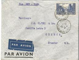 Lettre Par Avion De Paris à Cuenca (Equateur) 01/06/1937 T.P. Seul S/Lettre 35 € - 1938-42 Mercure