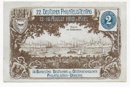 Privatganzsache 22. Deutscher Philatelistentag 1910 In Kiel Mit Sonderstempel Nach Göggingen - Briefmarkenausstellungen