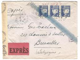 Lettre Express De Paris à Bruxelles 14/11/1942 Censure De Cologne - 1941-42 Pétain