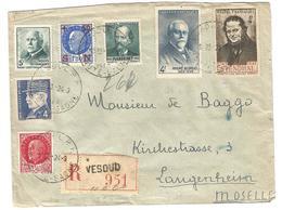 Lettre Recommandée De Vesoul à Langenheim (Moselle) 14/09/1943Censure De Francfort - 1941-42 Pétain