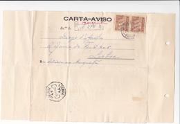 Portugal -Carta Aviso Circulou De Barquinha Para Lisboa  1940 - Santarem