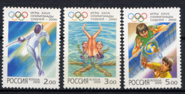 RUSSIE RUSSIA 2000, Yvert 6490/2, J.O. Sydney, Escrime Natation Volley-ball, 3 Valeurs, Neufs / Mint. R791 - Unused Stamps