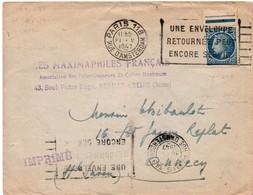 """Paris 118 1947 Rue D'Amsterdam - Flamme """"une Enveloppe Retournée Peut Encore Servir"""" Sur Mazelin - Poststempel (Briefe)"""