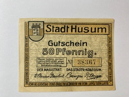 Allemagne Notgeld Husum 50 Pfennig - [ 3] 1918-1933 : République De Weimar