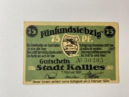 Allemagne Notgeld Kallies 75 Pfennig - [ 3] 1918-1933 : République De Weimar