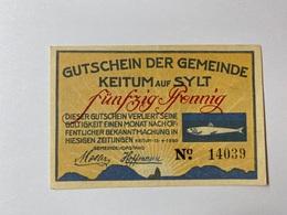 Allemagne Notgeld Keitum 50 Pfennig - [ 3] 1918-1933 : République De Weimar