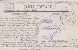 CP En Franchise De Lourdes (4 Cachets De Censure Dont Prisonniers Dépôt De Lourdes) Le 1/9/15 Pour Haguenau - WW I