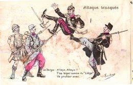 CPA  -  L'attaque Belge ( Liège)     -  écrite - Humor
