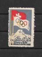Suisse (?) Vignette JO 28 * - Winter 1928: St-Moritz