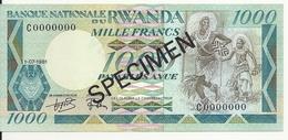 RWANDA 1000 FRANCS 1981 AUNC P 17 SPECIMEN - Rwanda