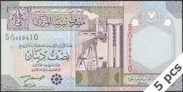 TWN - LIBYA 63 - ½ Dinar 2002 DEALERS LOT X 5 - Series 5 - Prefix 12ﺩ UNC - Libya