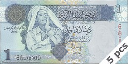 TWN - LIBYA 68b - 1 Dinar 2004 DEALERS LOT X 5 - Series 6 - Prefix 84ﺝ UNC - Libya