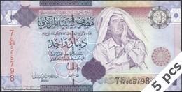 TWN - LIBYA 71 - 1 Dinar 2009 DEALERS LOT X 5 - Series 7 - Prefix 36ﺝ UNC - Libya