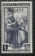 TRIESTE A 1950 AMG - FTT ITALIA ITALY OVERPRINTED ITALIA AL LAVORO LIRE 1 LIRA MNH - Neufs