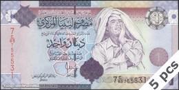 TWN - LIBYA 71 - 1 Dinar 2009 DEALERS LOT X 5 - Series 7 - Prefix 65ﺝ UNC - Libya