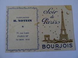 CALENDRIER PARFUM SOIR DE PARIS BOURJOIS 1958  TBE - Calendriers