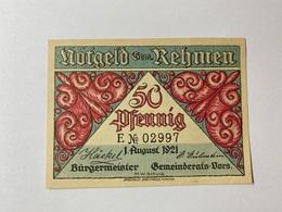 Allemagne Notgeld Rehmen 50 Pfennig - [ 3] 1918-1933 : République De Weimar