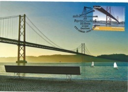 CARTE MAXIMUM - MAXICARD - MAXIMUM KARTE - MAXIMUM CARD - PORTUGAL - LISBONNE - PONT 25 AVRIL - OBLITERATION TRIPLE - Bridges