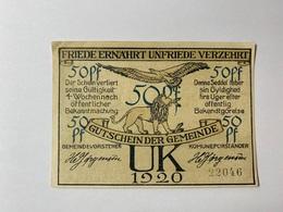 Allemagne Notgeld Uk 50 Pfennig - [ 3] 1918-1933 : République De Weimar