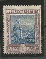 Argentina Sc#201 Diez Pesos Agriculture MNH / ** 1912 - Neufs