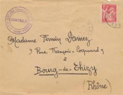 """"""" CENTRE DE SEJOUR SURVEILLÉ FORT BARRAUX ( Isère ) """"  INTERNÉS CIVILS  Lettre IRIS 1f Obl """" BARREAUX ISERE  18/4/41 """" - Guerra Del 1939-45"""