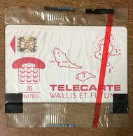 WALLIS & FUTUNA CARTE DES ÎLES ROUGE TÉLÉCARTE 80U RÉF PHONECOTE WF2 NSB PHONECARD CARTE A PUCE POUR COLLECTION - Wallis And Futuna