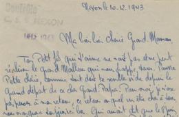 """Griffe """" Contrôle / C.S.S. NEXON """" Lettre Datée Du CAMP De Concentration Nexon Haute Vienne 10/12/43 - INTERNÉS CIVILS - Historical Documents"""