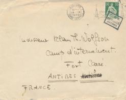 """"""" C.R.E. FORT-CARRÉ ANTIBES """" Lettre Affrt Suisse > CAMP D'INTERNEMENT - INTERNÉS CIVILS  -  ETRANGERS - Alpes Maritimes - WW2"""