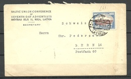 LETTLAND Latvia 1928 7th Day Adventists Cover To Bern Michel 135 As Single - Lettland