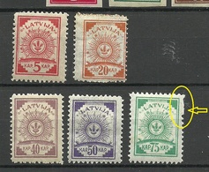 LETTLAND Latvia 1920 Michel 46 - 50 * Incl. Abart ERROR Perforation Variety = Missing Holes In Perf. - Lettland