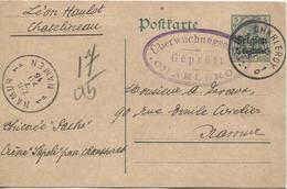 REF707/ Entier CP C.Charleroy 1915 Censure Geprüft Charleroi écrit De Chatelineau > Namur C.d'arrivée - Weltkrieg 1914-18