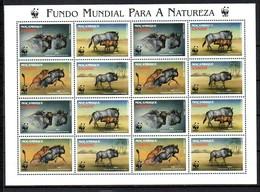 Mozambique 2000 MiNr. 1757 - 1760  Mocambique Blue Wildbeest WWF Animals M/sh MNH** 24,00 € - Mozambique