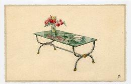 RARE Vrai Real Drawing DESSIN AQUARELLE DESIGN MEUBLE ART DECORATIF Table Vase Marbre Verre Projet Mobilier 40s 30s - Aquarelles