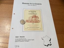 Étiquette De Vin 1993 «CÔTES DU LUBERON - DOMAINE DE LA CITADELLE - MÉNERBES (84)» - Côtes Du Rhône