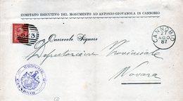 CG29 - Lettera Da Cannobio Per Novara 27/8/1887 - Ann. A Sbarre N. 625 + Cerchio Grande Nominativo - Marcophilia