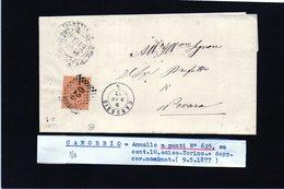 CG29 - Lettera Da Cannobio Per Novara 9/5/1877 - Ann. A Punti N. 625 + Doppio Cerchio Piccolo Nominativo - Marcophilia