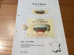 Étiquette De Vin + Collerette «CÔTES DU LUBERON - TOURAIGUES - La Tour D'Aigues (84)» - Côtes Du Rhône