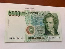 Italy Bellini Uncirculated Banknote 5000 Lira #7 - [ 2] 1946-… : Repubblica