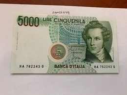Italy Bellini Uncirculated Banknote 5000 Lira #8 - [ 2] 1946-… : Republiek