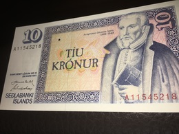 See Photos. Iceland Uncirculated10 Kronur Banknote Of Sedlabanki Islands. - Island
