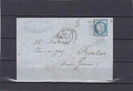 QUIMPER ( FINISTERE )  GC 3066  + LAC +  N°60C -pour FRONTON  3 AVRIL 1875 - REF 1338 + Variété - 1877-1920: Semi Modern Period
