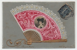 CP,  Circulé 1906. Photo De Jeunne Femme à La Mode, Dans L'eventail. - Moda