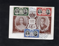 Carte Maximum - 1er JOUR -19 AVRIL 1956 - Mariage Du PRINCE RAINIER & GRACE KELLY - Maximumkarten (MC)