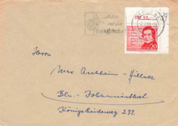 DDR Brief EF Mi.529 Eckrand Berlin 1958 Kartoffelkäfer - DDR