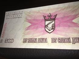 See Photos.  Bosnia Herzegovina 500 Dinara, 1992 Currency Banknote, Uncirculated - Bosnië En Herzegovina
