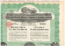 Titre Ancien  The San Martin Mining Company Of Canada Limited - Titre De 1913 - Déco - Mines