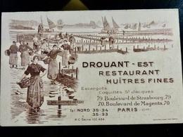 MENU _ Restaurant _ DROUANT Est _ HUITRES FINES _ PARIS 1937 - Menú