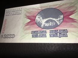 Bosnia Herzegovina 1000 Dinara, Banknote  1992  Uncirculated - Bosnië En Herzegovina