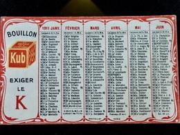 CALENDRIER Petit Format _ 1911 _ BOUILLON KUB - Petit Format : 1941-60