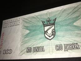 See Photos. BOSNIA & HERZEGOVINA 100 DINARA 1992 Uncirculated Banknote - Bosnië En Herzegovina